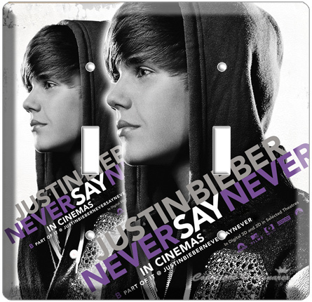 JUSTIN BIEBER SINGER NEVER SAY FROM 3D MOVIE DOUBLE LIGHT SWITCH COVER WALLPLATE