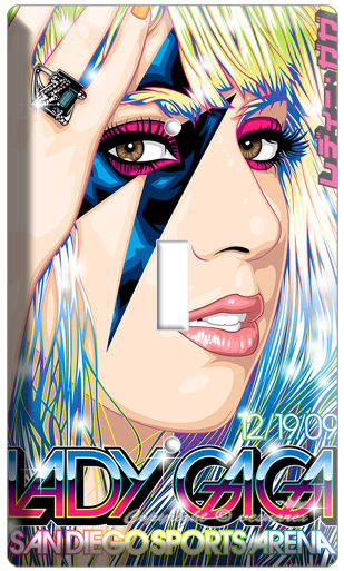 LADY GAGA CONCERT POSTER SINGLE LIGHT SWITCH COVER WALL PLATE CD DVD MUSIC SONG