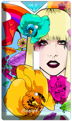 LADY GAGA POP MUSIC SINGER ART SINGLE LIGHT SWITCH COVER WALLPLATE CD DVD POSTER