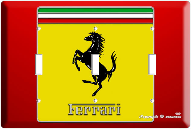 NEW FERRARI SPORT CAR EMBLEM LOGO SCUDERIA SHIELD TRIPLE LIGHTSWITCH PLATE COVER