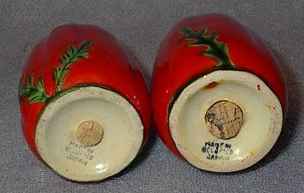 Figural Occupied Japan Tomato Salt and Pepper Shaker Set
