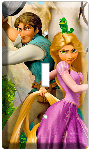 RAPUNZEL FLYNN RIDER PASCAL CHEMELION TANGLED MOVIE SINGLE LIGHT SWITCH PLATE