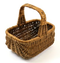 "Small-Medium Brown Wicker Basket with Handle, 6"", Vintage - $12.86"