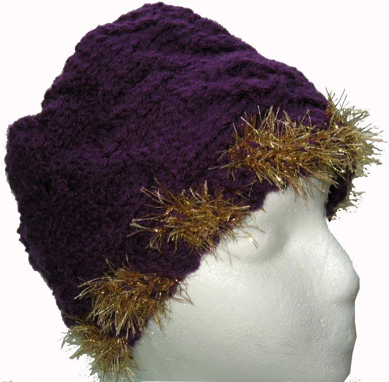 Primary image for Purple Hand Knit Hat with Gold Highlights