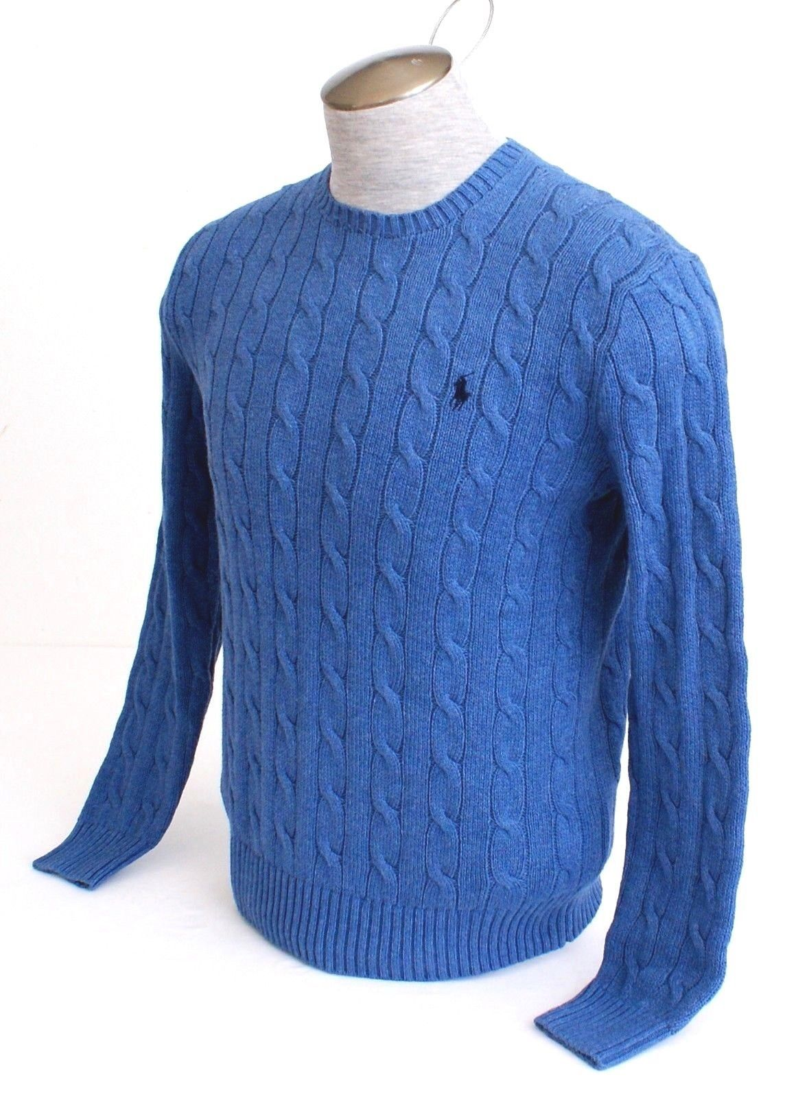 Polo Ralph Lauren Custom X-Large XL Blue Wool Sweater Red Pony NWT