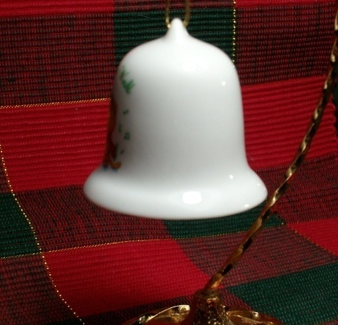 """Ceramic """"JOY TO THE WORLD"""" Christmas Bell Ornament by Russ Berrie - Cute Item!"""