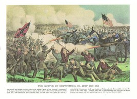 CIVIL WAR:Battle Gettysburg-Vicksburg-Currier Ives 9X12 - $9.29