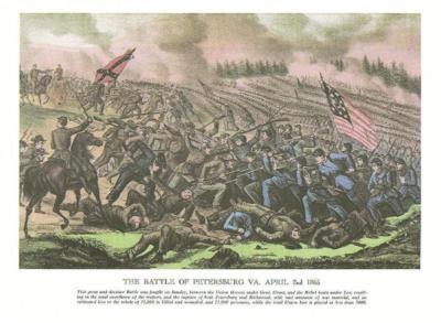 CIVIL WAR Petersburg Fall of Richmond Currier Ives 9x12