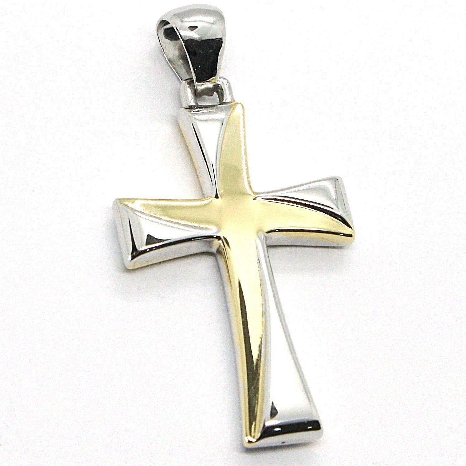 CROSS PENDANT YELLOW AND WHITE GOLD 750 18K, PENDANT, SQUARED, ITALY MADE