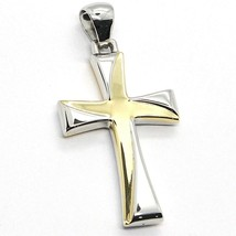 CROSS PENDANT YELLOW AND WHITE GOLD 750 18K, PENDANT, SQUARED, ITALY MADE - $282.63