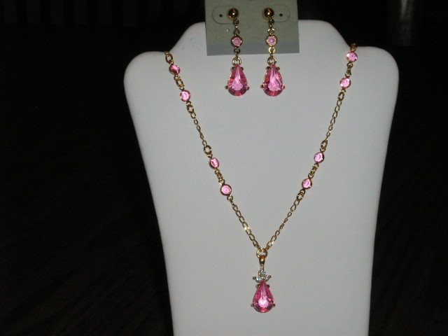 Avon Simulated Birthstone Necklace & Pierced Earrings Set - October Tourmaline