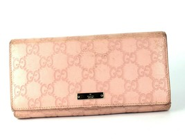 e1d2fbad4 Authentic GUCCI GG Pattern Peach Leather Bifold Envelope Long Wallet Purse  Italy - $107.91