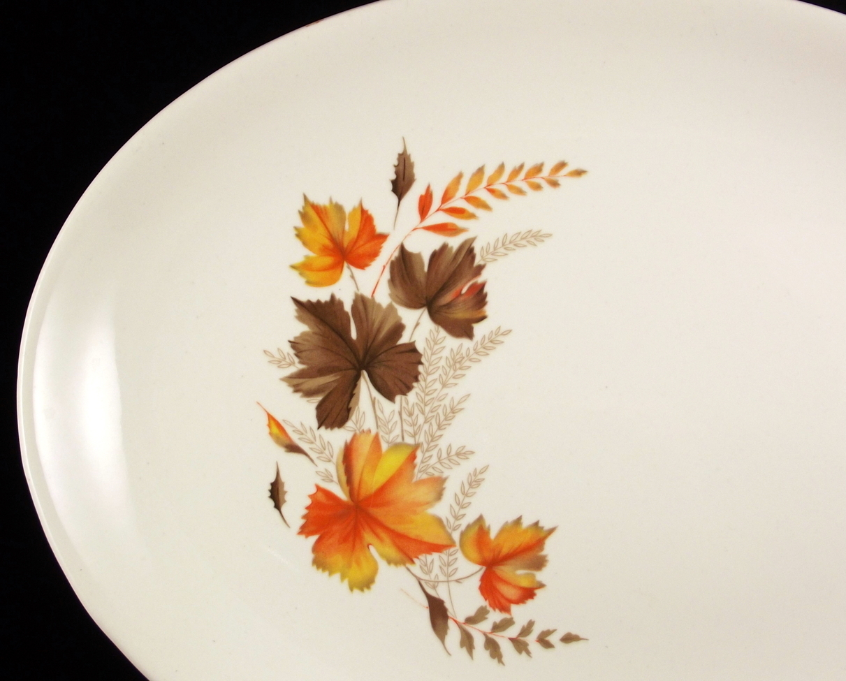 "Vintage 11.25"" orange and brown autumn fall leaves oval platter unmarked"