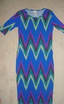 LulaRoe Blue Chevron Print Design JULIA Dress GORGEOUS XS - $28.65