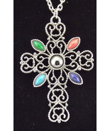 "Vintage Avon Romanesque Cross 24"" Necklace 1972 Silvertone Filigree - $20.00"