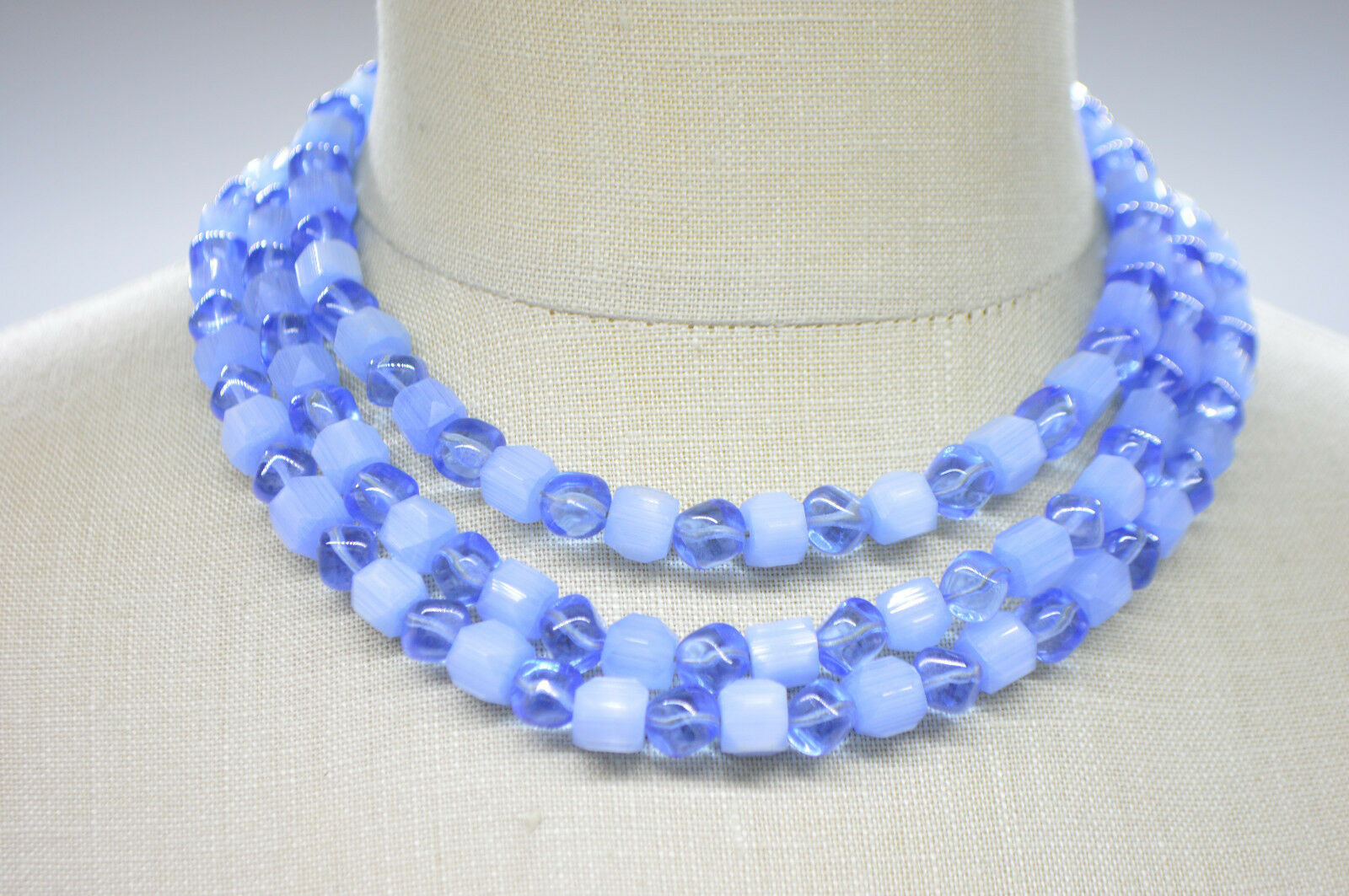 Primary image for CROWN TRIFARI Multi-Strand Blue Art Glass Aurora Crystal Givre Bead Necklace