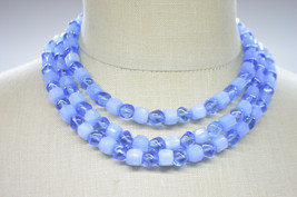 CROWN TRIFARI Multi-Strand Blue Art Glass Aurora Crystal Givre Bead Neck... - $89.09