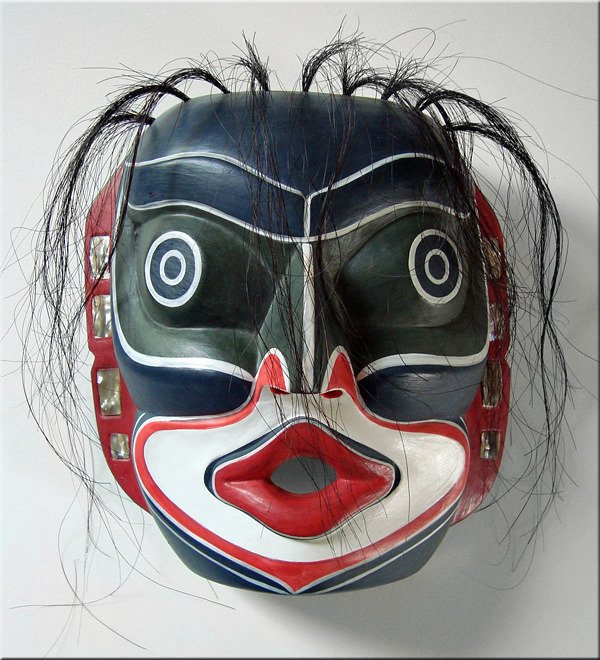 REPRODUCTION Kwakiutl LAUGHING MASK/NW Coast Native American Indian, Tribal