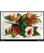 1999 TROPICAL FLOWERS 4 DESIGNS Book of 20 USA 33 cent self-adhesive STAMPS - £9.97 GBP