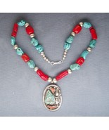 AWESOME STERLING SILVER CORAL TURQUOISE SIGNED PAULINE McCRAY NAVAJO NEC... - $499.95