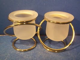 PartyLite Gold Tone Gemini Votive Candle Holders Gold Ring Frosted Glass - $9.99
