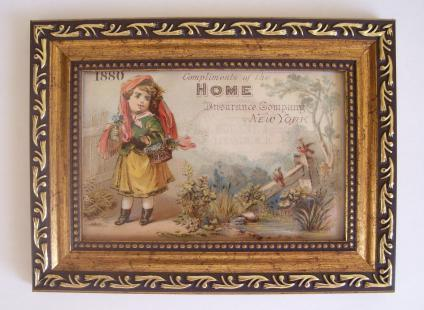 "HOME INSURANCE: 1880 Trade Card in Gold Frame 6.5""X5.0"""