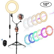 "EEIEER 10"" RGB Ring Lights with Stand, Mini LED Camera Circle Light, Makeup - $82.69"