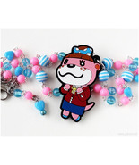Animal Crossing Necklace, Lottie the Otter Charm, Pink, Blue, Beaded Cha... - $27.00