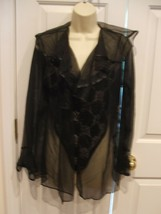 New in pkg corrina 2 pc black LACE TEDDY and sheer coat  made in usa medium - $28.71
