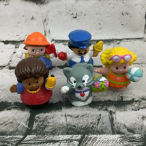 Fisher Price Little People Figures Lot Cat Mom Girl Crossing Guard Const... - $15.84