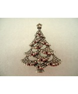 Vintage 1983 Avon Silvertone Christmas Tree Pin Marcasite and Red Rhines... - $20.00