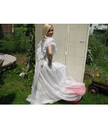 Vintage jc Penny Boho wedding dress Sheer flocked ruffle Lace Southern B... - $130.00
