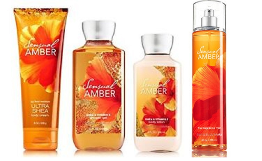 4 Pc Bath & Body Works Sensual Amber Gift Set- Lotion, Mist, Shower Gel & Cream