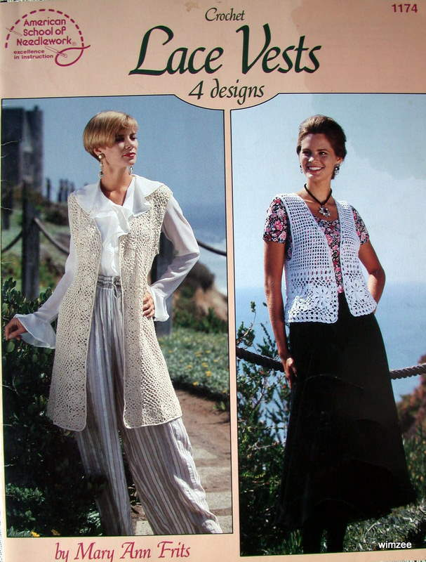 Primary image for Pattern Leaflet CROCHET LACE VESTS 1993 American School of Needlework # 1174