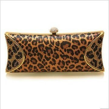 2012 New Style Animal Leopard 100% Silk Swarovski Crystal Evening Clutch Bag