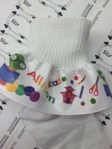 Ruffle Socks Personalized Ribbon  Back to School for Girls Reading Books - $8.50