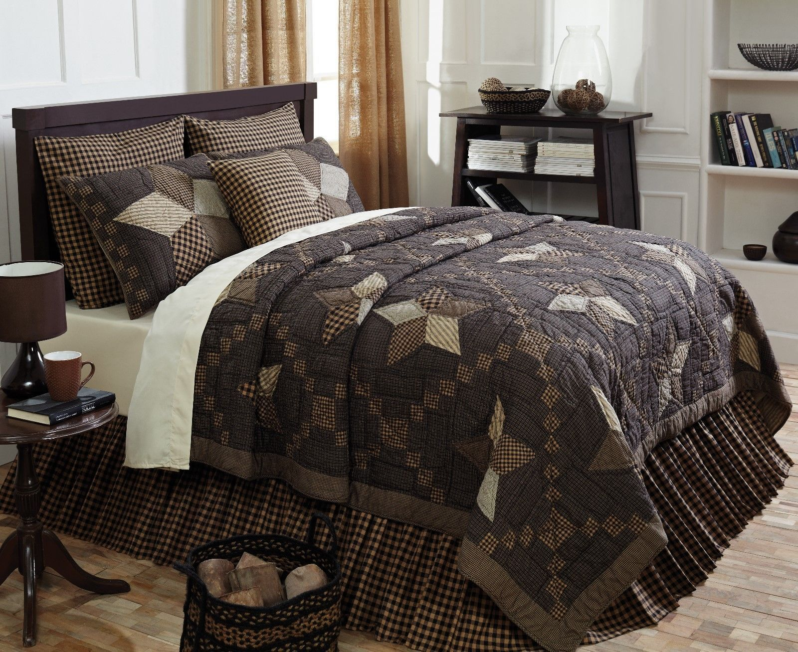 6-pc California King - FARMHOUSE STAR Quilt Country Set - Black and Tan - VHC