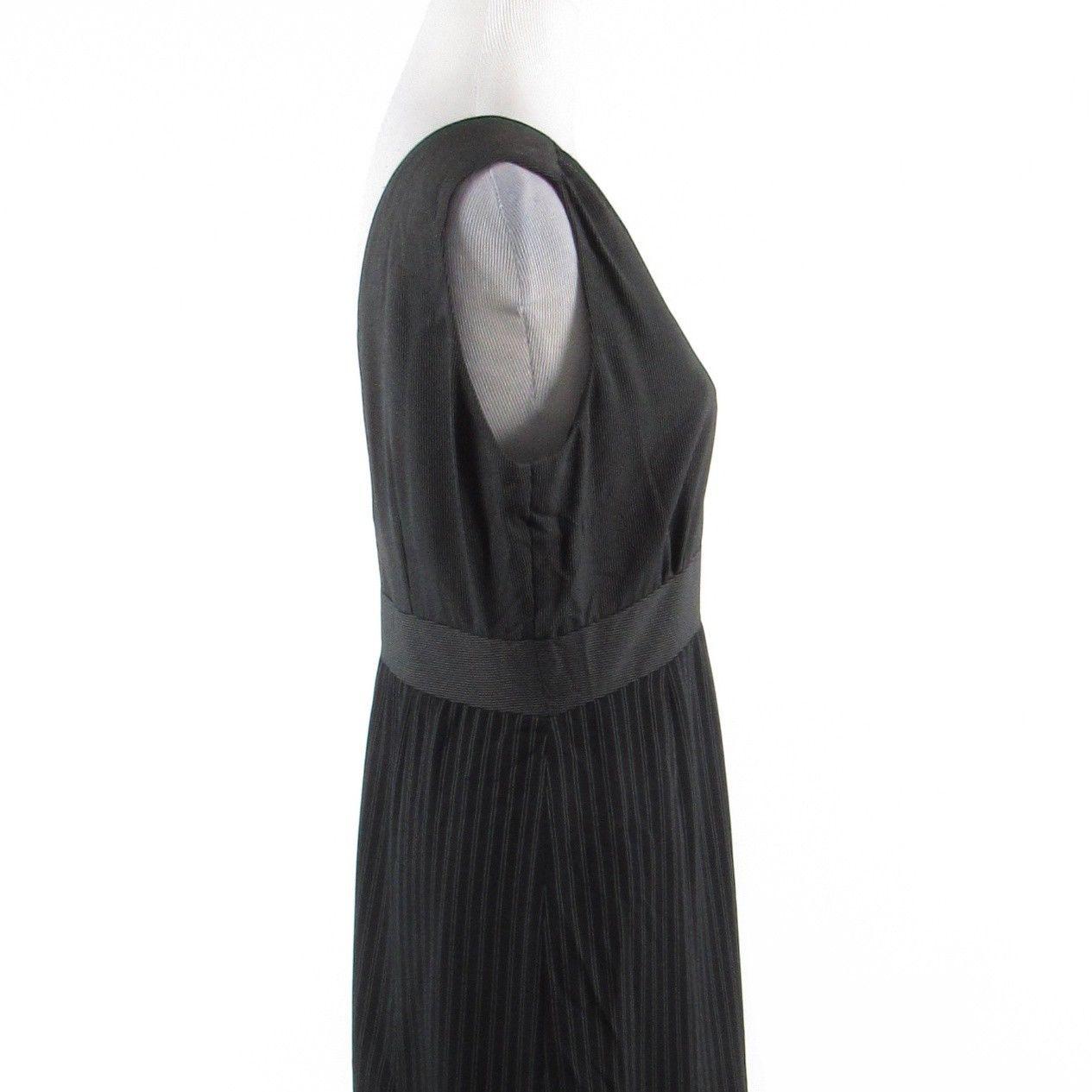 Gray black pinstripe HALSTON sleeveless maxi dress 8