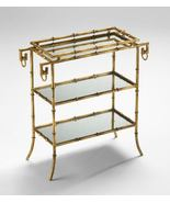 GOLD FAUX BAMBOO TRAY TABLE, 3 Tiers, Mirrored Shelves, HOLLYWOOD REGENC... - $395.00