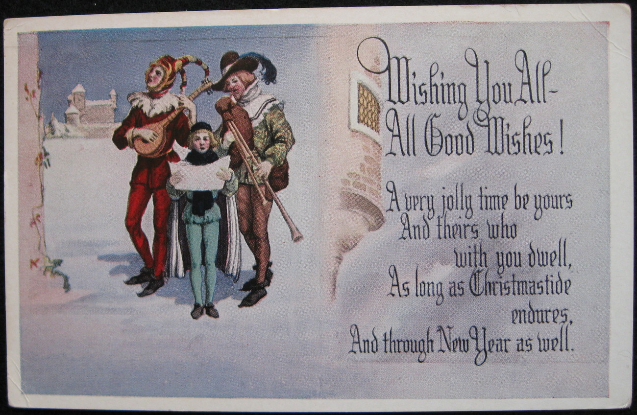 Primary image for Fairman, White Border, Divided-back, Christmas Postcard, Wishing You All Good Wi