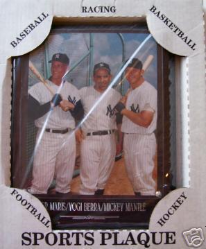 MICKEY MANTLE/ROGER MARIS/YOGI BERRA Rare Plaque10.5X13