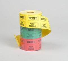 3 Rolls of 500 (1500 Total) Double Stub Raffle Tickets Rolls 3 Assorted ... - $13.85