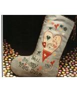 Valentine Stocking cross stitch chart Heart in ... - $4.00