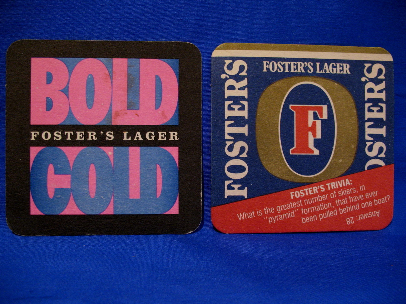 Foster's Lager Beer Coasters Souvenir set of 2 Bold Cold