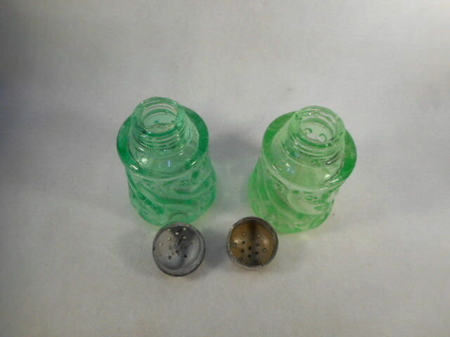 Vintage Pair Green Depression Vaseline Glass Swirl Salt and Pepper Shakers