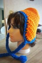 Women's Warm Winter Crochet Hat, Syracuse University (SU) Orange & Blue Colors - $6.00