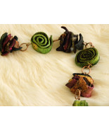 Handcrafted Dried Fiber Necklace Copper Chain Long Light Wt - $14.50