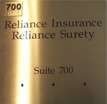 "RELIANCE INSURANCE-SURETY: 10"" X 10"" - Gold-Brass SIGN - $45.43"