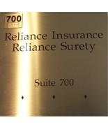 "RELIANCE INSURANCE-SURETY: 10"" X 10"" - Gold-Brass SIGN - $45.43"