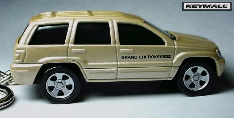 KEY CHAIN GOLD JEEP GRAND CHEROKEE LIMITED 4X4 PORTE CLE NEW